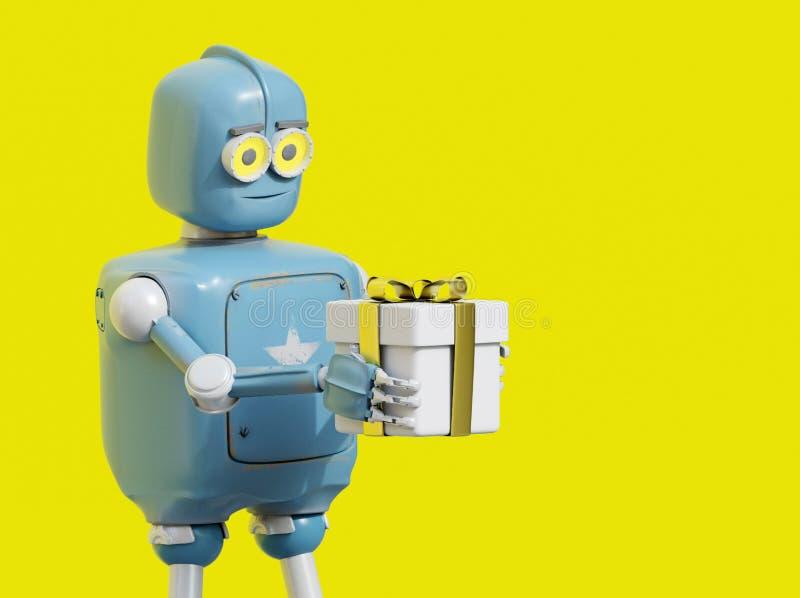 Retro robot presenting gift box royalty free illustration