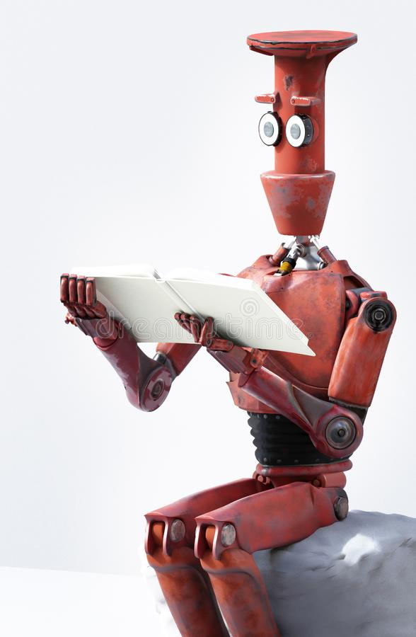 Retro robot reads a book on the stone. 3D render. The retro robot reads a book on the stone. 3D render vector illustration
