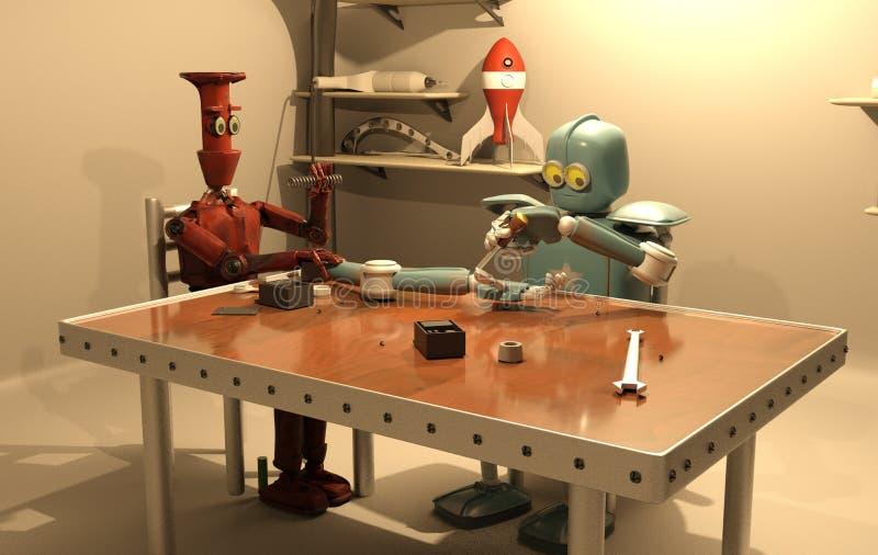 Retro robot is repairing his hand ,3d rendering stock illustration