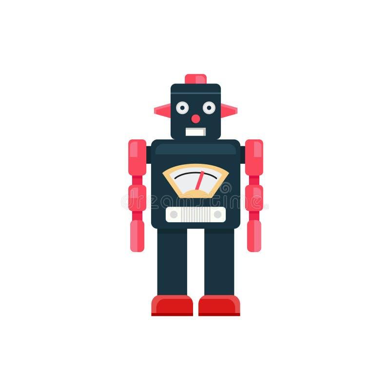 Retro robot, robotisolatvektor, Retro robotleksak royaltyfri illustrationer