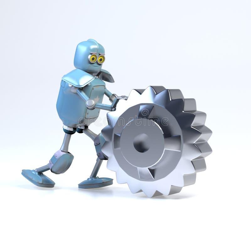 Free Retro Robot Rolls A Gear,3d Render Stock Images - 164318214