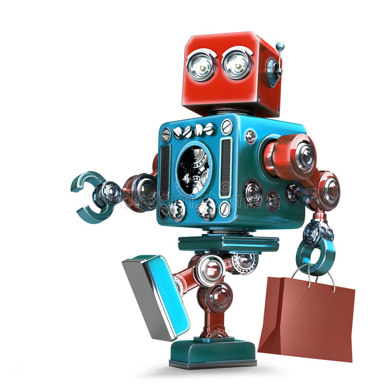Retro Robot with shopping cart. Isolated. Contains clipping path stock illustration