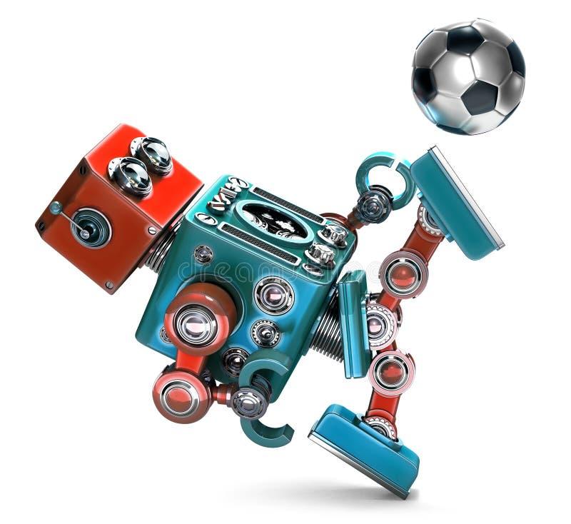 Retro robot som 3D spelar fotboll isolerat Innehåller den snabba banan stock illustrationer