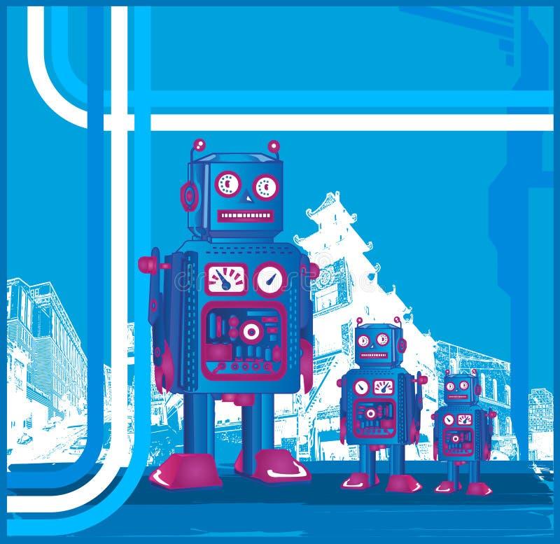 Download Retro Robot & Son stock vector. Illustration of blue, science - 3166467