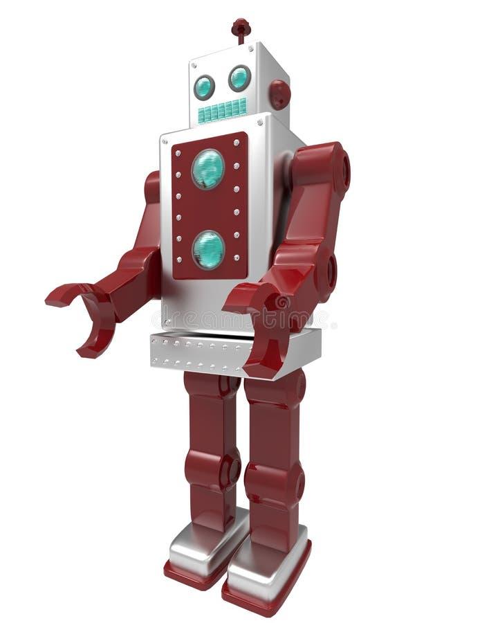 Retro robot su fondo bianco con la maschera del ritaglio illustrazione di stock