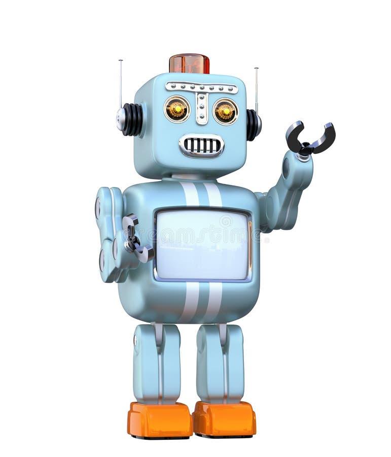 Retro robot sveglio isolato su fondo bianco illustrazione di stock