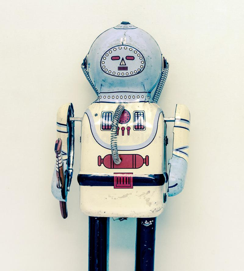 Retro robot toy standing  t royalty free stock photography