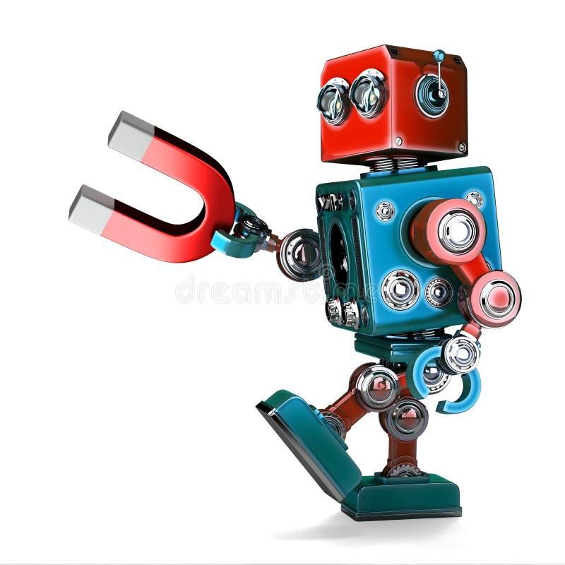 Retro robot trzyma magnes ilustracja 3 d odosobniony zawiera royalty ilustracja