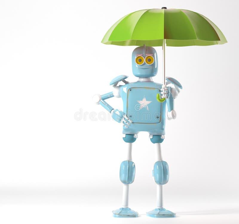 Retro robot with umbrella, 3d render royalty free illustration