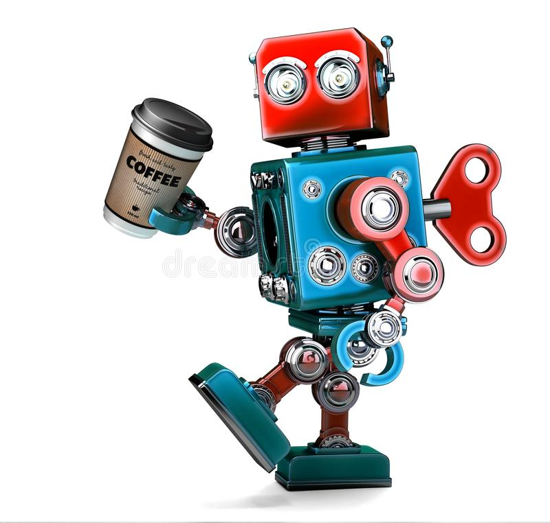 Retro robot walking with a cup of coffee. 3D illustration. stock illustration