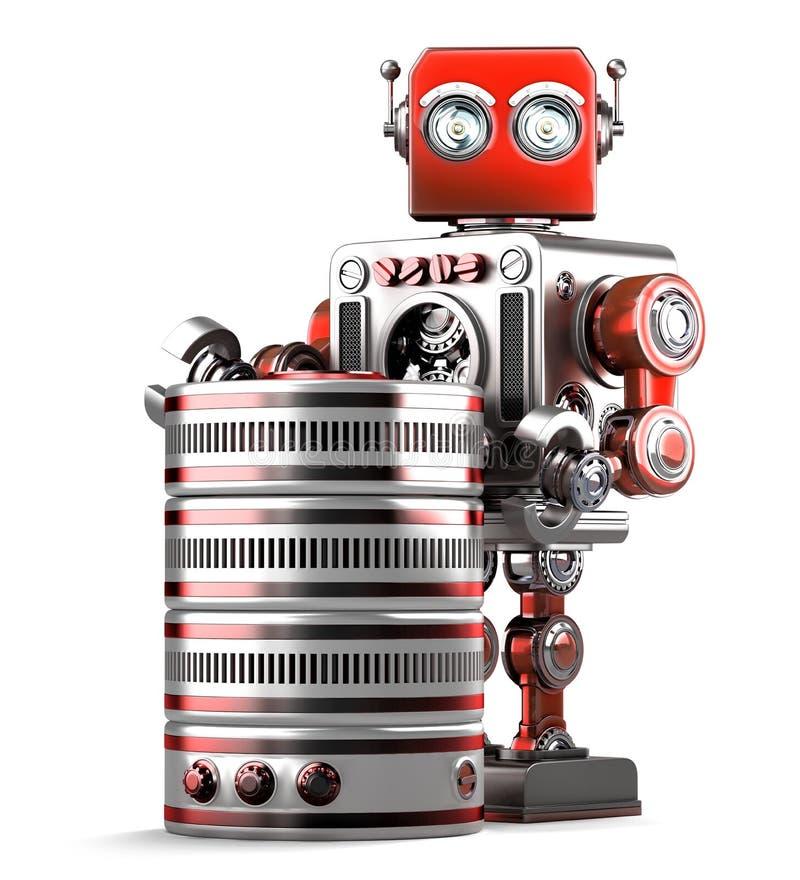 Retro robot z bazą danych pojęcia odosobniony technologii biel Zawiera ścinek ścieżkę ilustracja wektor
