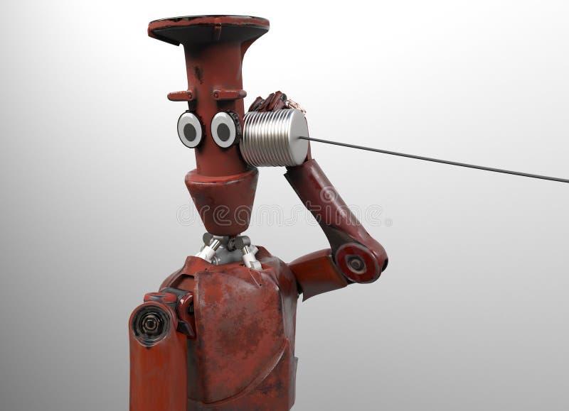 Retro robot z Blaszanej puszki telefonami 3 d czyni? ilustracja wektor
