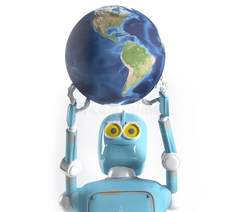 Retro robota chwyta ziemia, 3d odp?aca si? royalty ilustracja