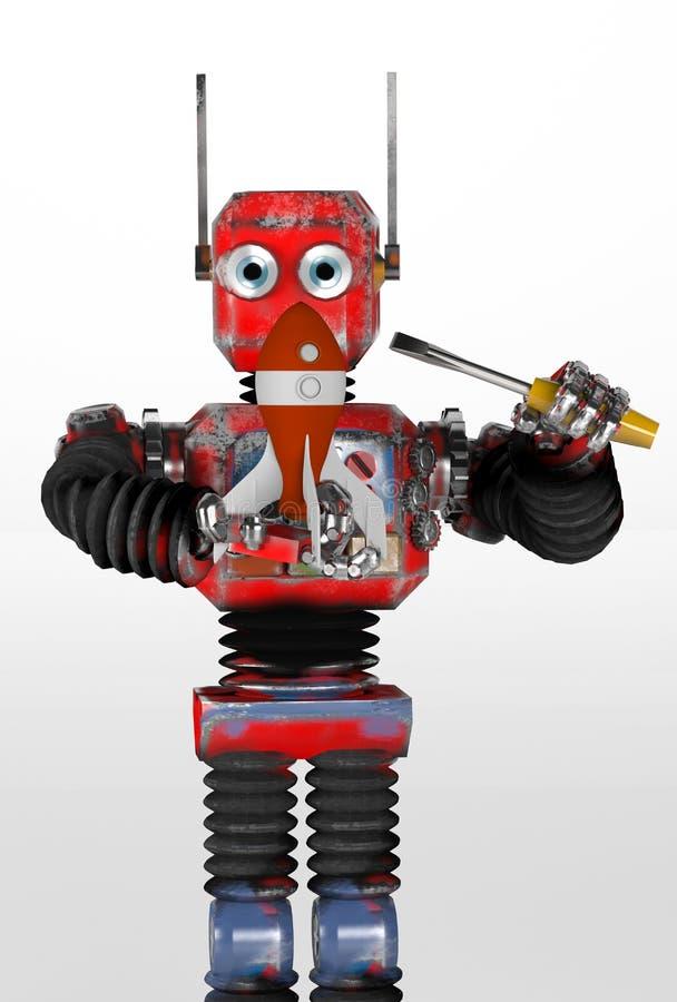 Retro robota dylemat rakieta, odpłaca się, 3d royalty ilustracja