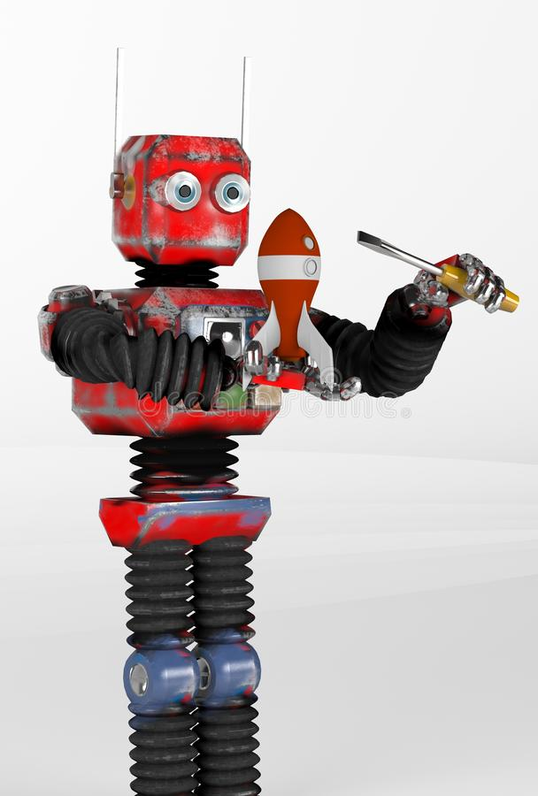 Retro robota dylemat rakieta, odpłaca się, 3d ilustracji