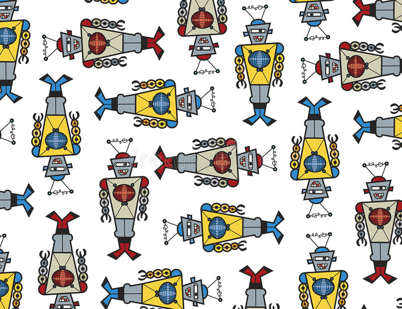 retro robotar för attack stock illustrationer