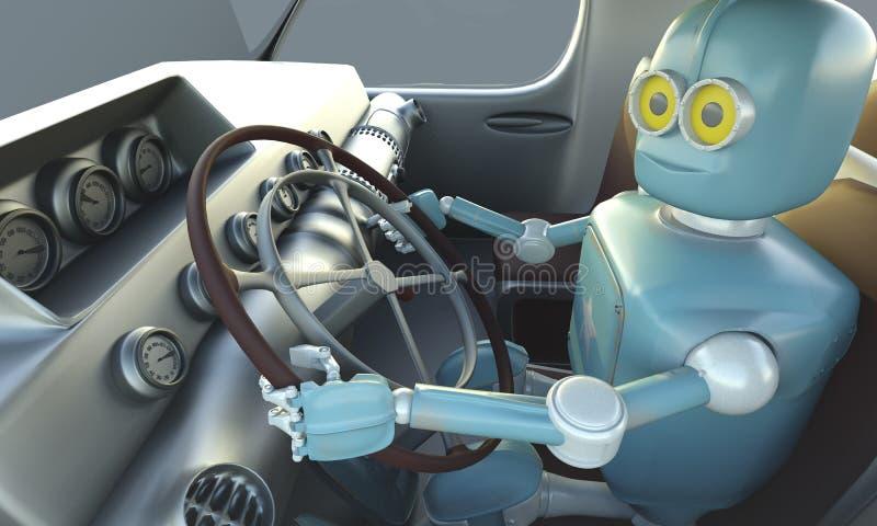 Retro- Roboter drave Auto Autonomes Transport- und selbst-fahrenauto lizenzfreie abbildung