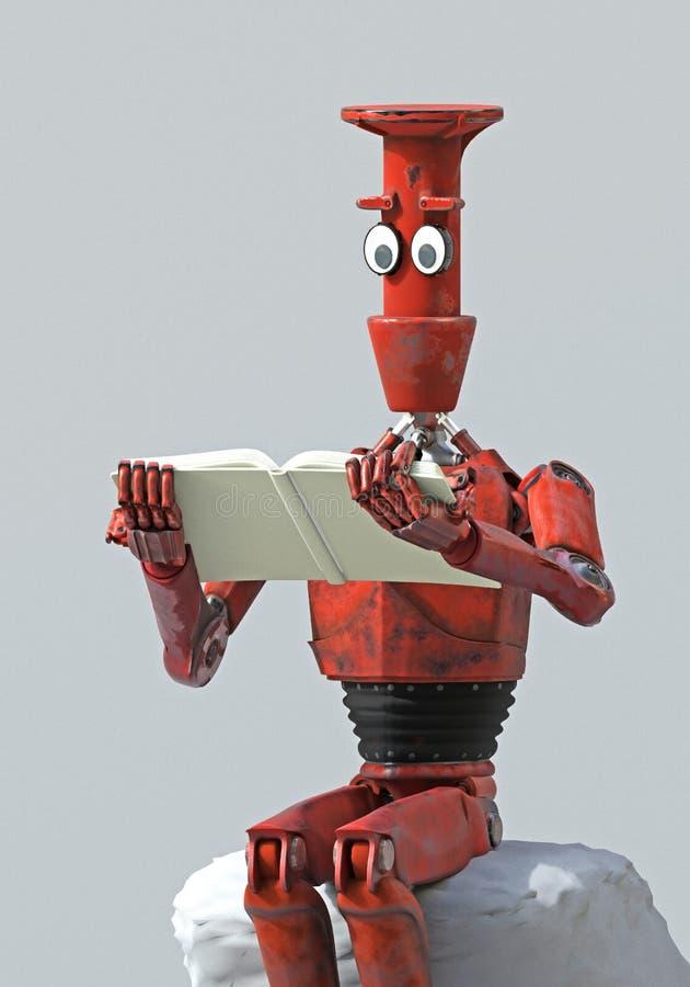 Retro- Roboter liest ein Buch auf dem Stein 3d übertragen stock abbildung