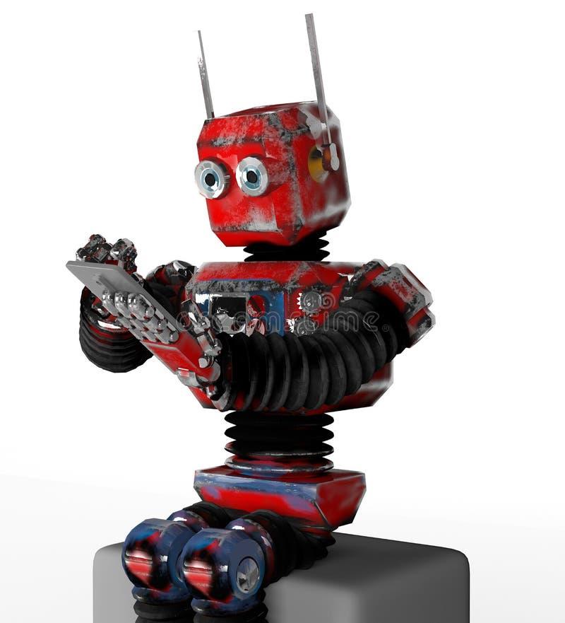 Retro- Roboter mit einem Telefon auf Kasten, 3d, ?bertragen lizenzfreie abbildung