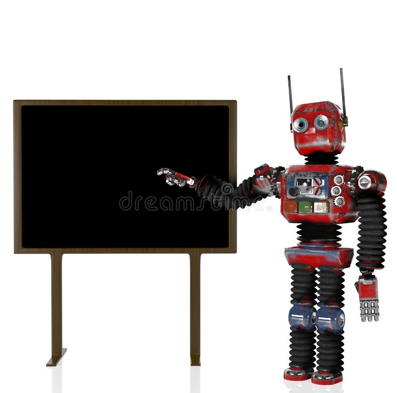 Retro- Roboter mit Tafel, 3d übertragen vektor abbildung