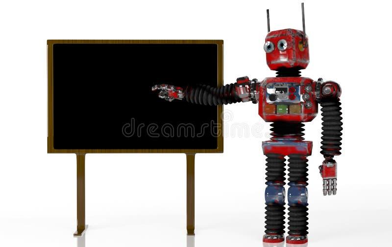 Retro- Roboter mit Tafel, 3d übertragen stock abbildung