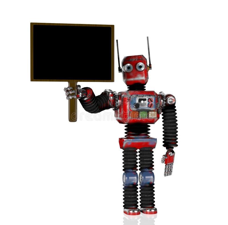 Retro- Roboter mit Tafel, 3d übertragen lizenzfreie abbildung