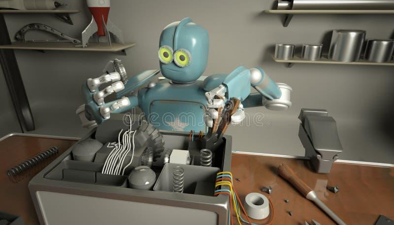 Retro- Roboter repariert einen defekten Mechanismus, Android-Wiederherstellungen das det vektor abbildung