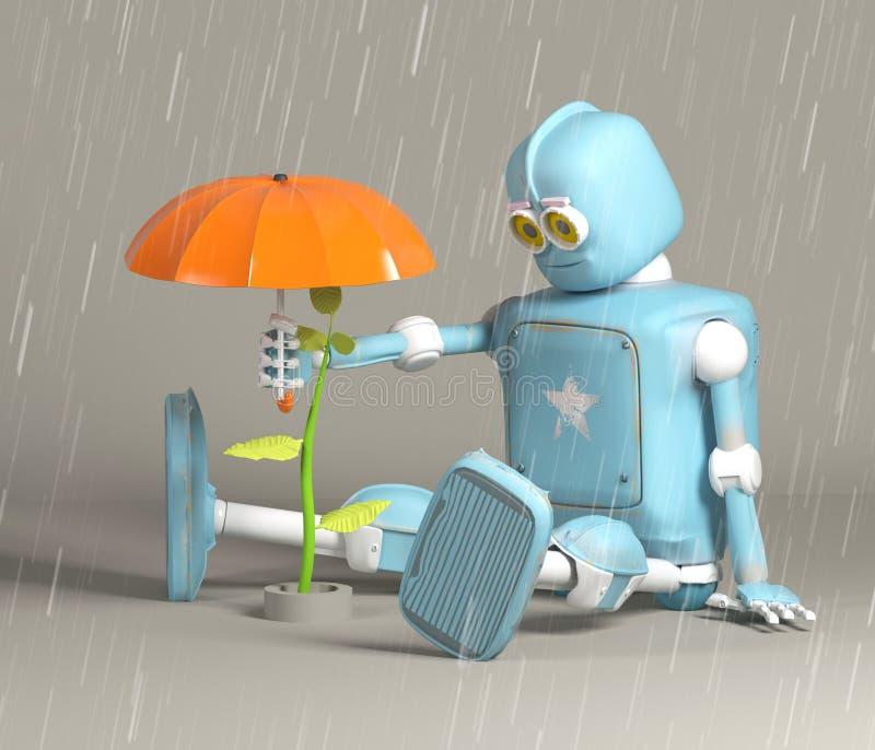 Retro- Roboter schützen Sprössling, Anlage, 3d, übertragen stock abbildung