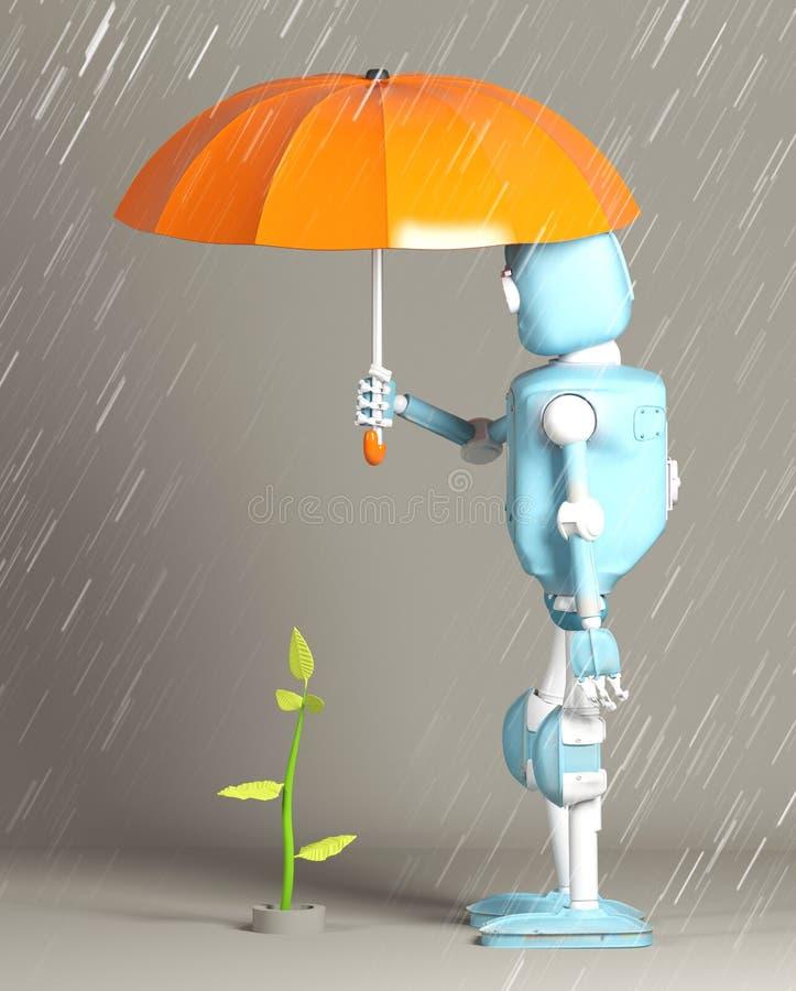 Retro- Roboter schützen Sprössling, Anlage, 3d, übertragen lizenzfreie abbildung