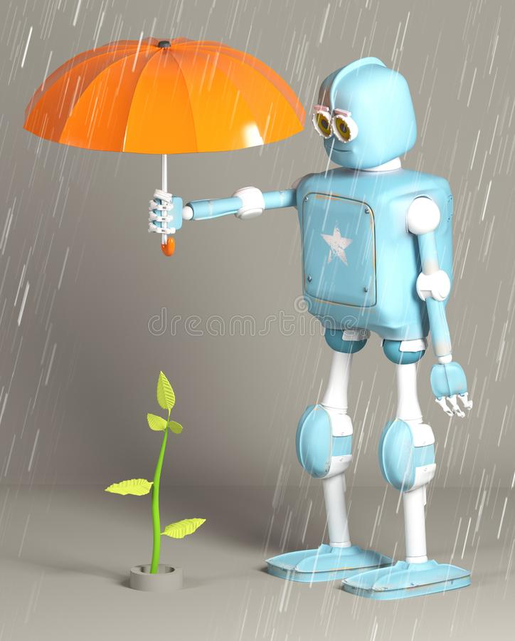 Retro- Roboter schützen Sprössling, Anlage, 3d, übertragen vektor abbildung