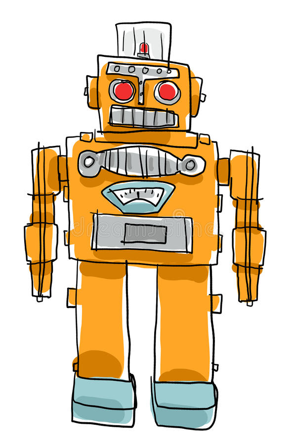 Retro- Roboter spielt Kinderdas malen stock abbildung