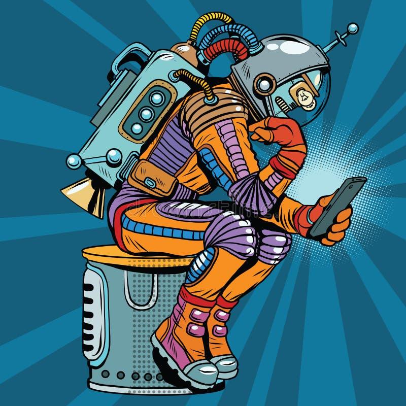 Retro- Roboterastronaut in der Denkerhaltung liest Smartphone lizenzfreie abbildung