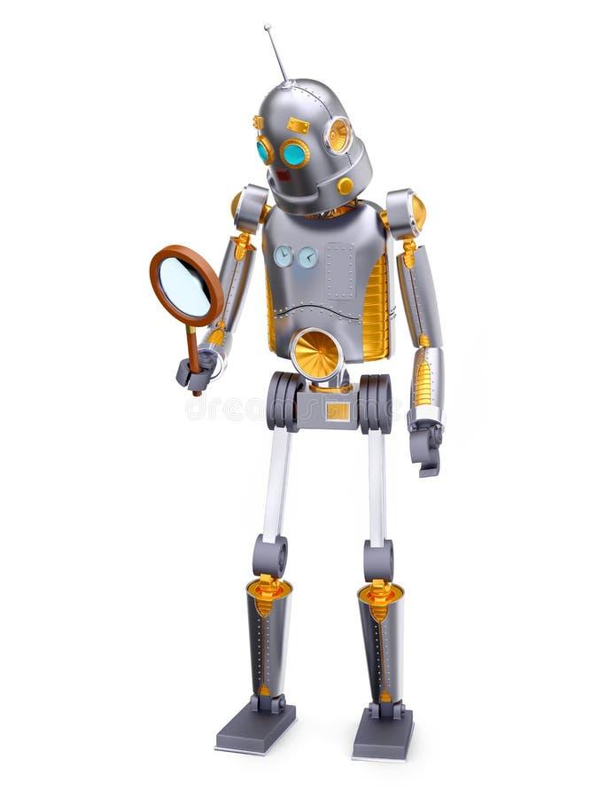 Retro robotförstoringsapparat för tappning vektor illustrationer