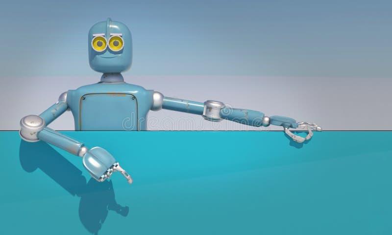 Retro robothandelingen zoals adverterend; de uitstekende robot stelt te kopen voor; stock illustratie