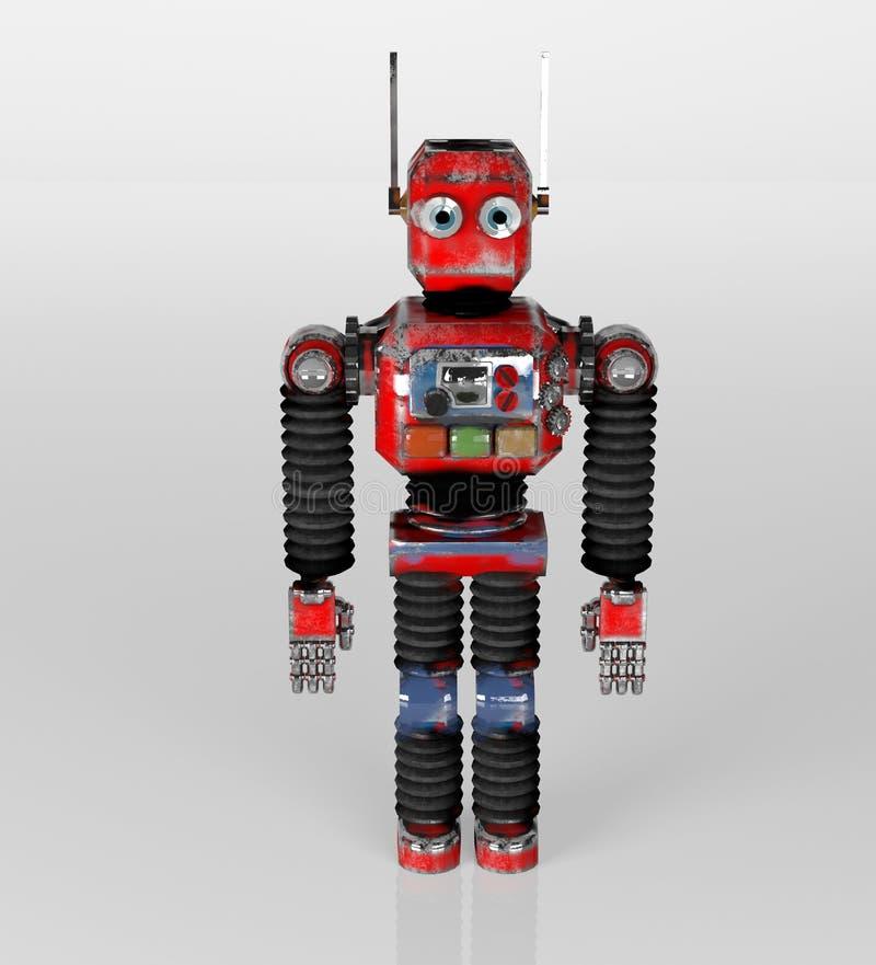 Retro robotrood, 3d stuk speelgoed, geeft terug vector illustratie