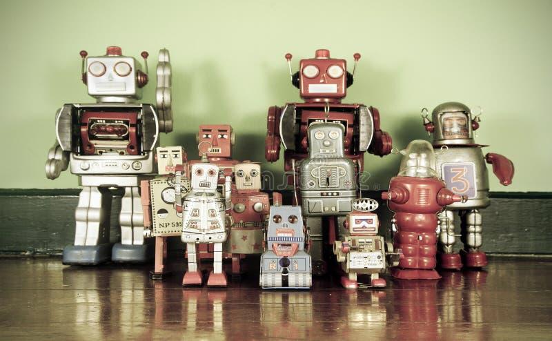 Retro robots stock images