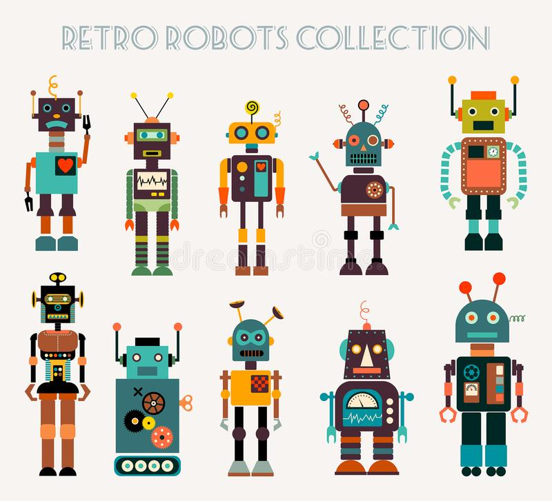 Retro robots collection with different characters, vector design royalty free illustration