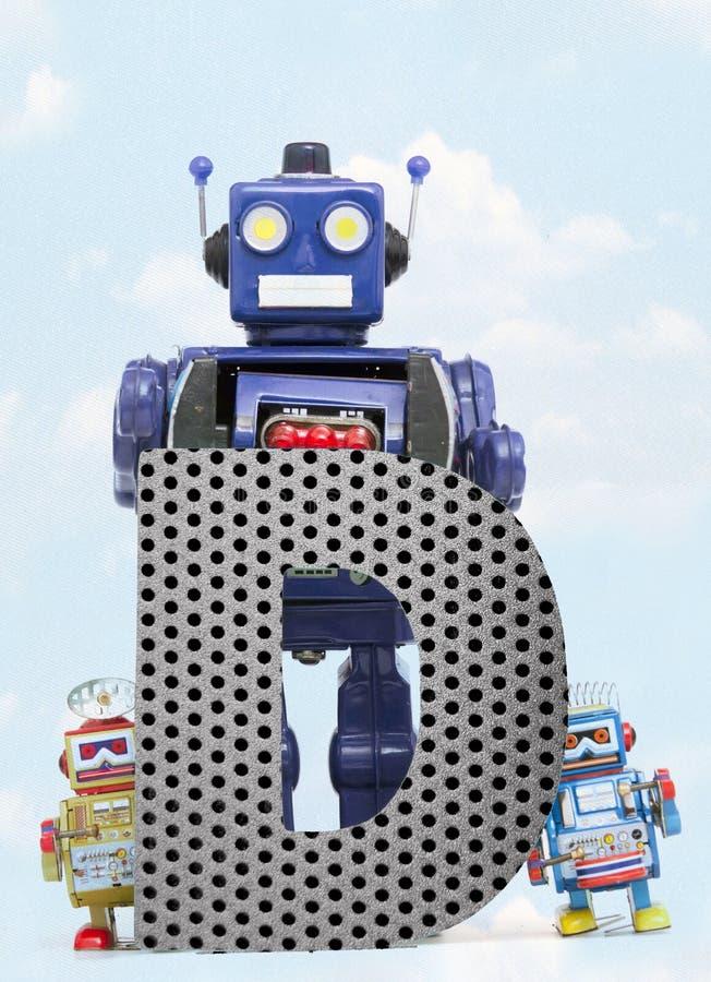 Retro robots die een grote metaalbrief D met blauwe hemel houden stock illustratie