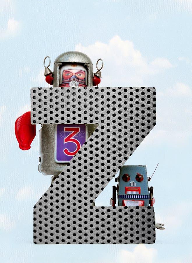 Retro robots die een grote metaalbrief Z met blauwe hemel houden vector illustratie