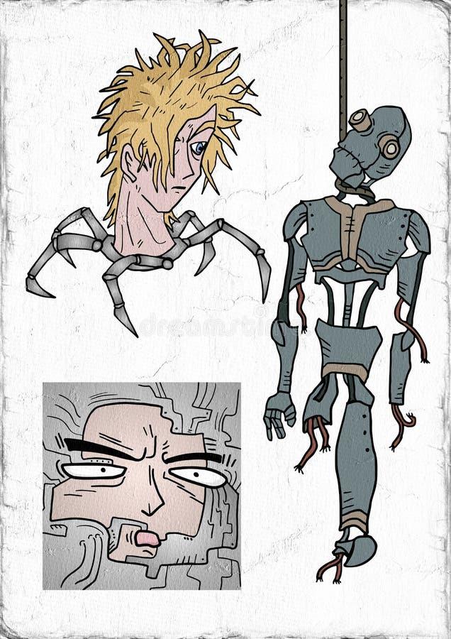 Retro robots. Retro futuristic robot illustration design stock illustration