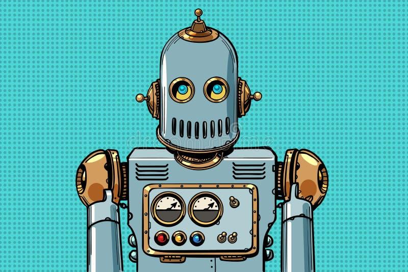 Retro robotstående royaltyfri illustrationer