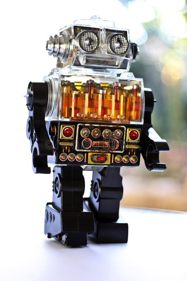retro robottoy arkivbild