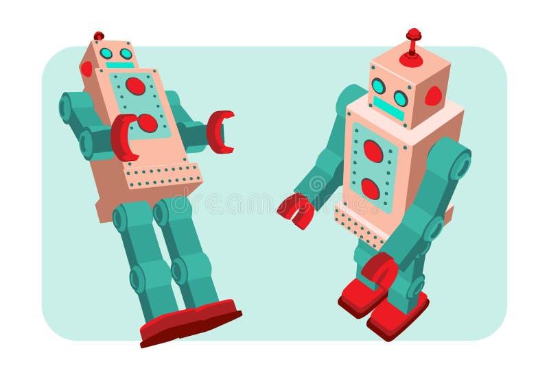 Retro robotvektorillustration royaltyfri illustrationer