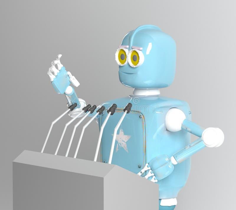 Retro robotwoordvoerder, 3d spreker, geeft terug vector illustratie