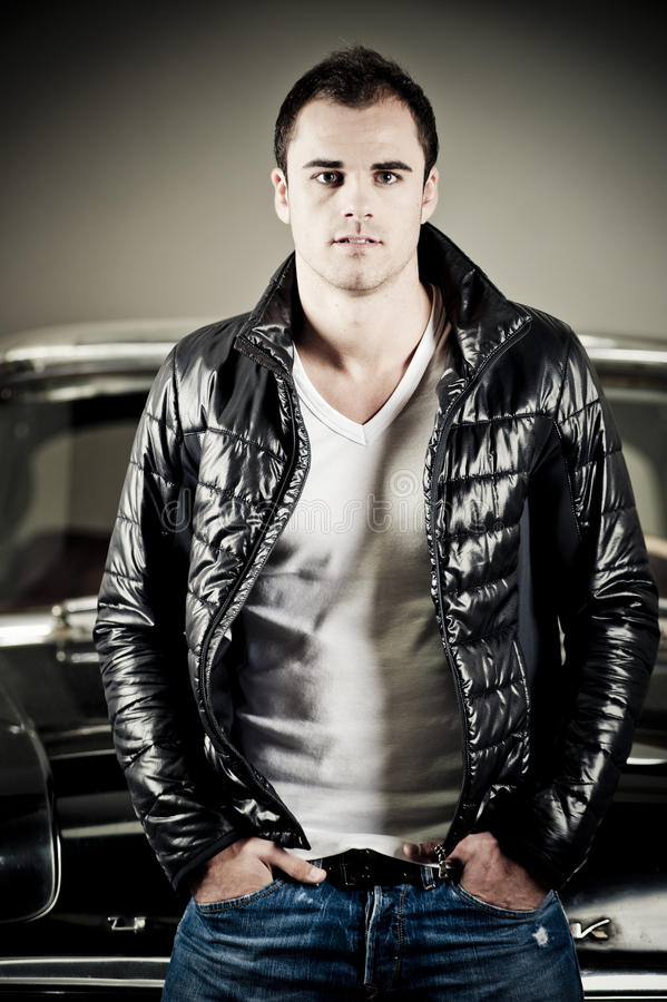 Retro rock and roll 50s fashion man. With leather jacket royalty free stock images