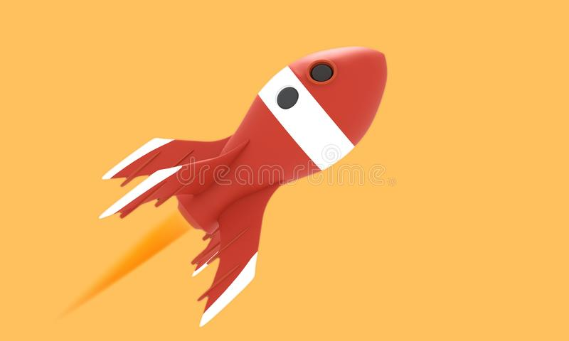 Retro rocket space ship isolated on yellow royalty free illustration