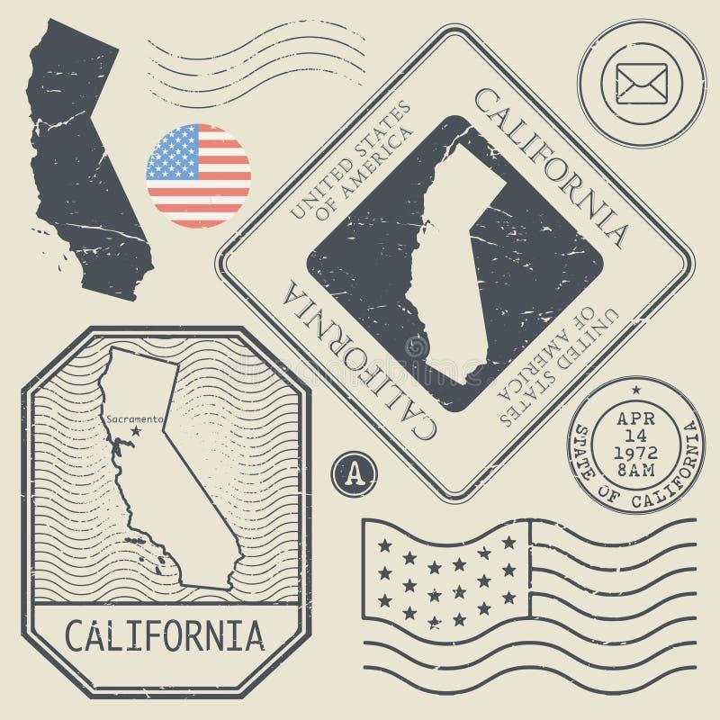 Retro roczników znaczki pocztowi ustawiają Kalifornia, Stany Zjednoczone royalty ilustracja