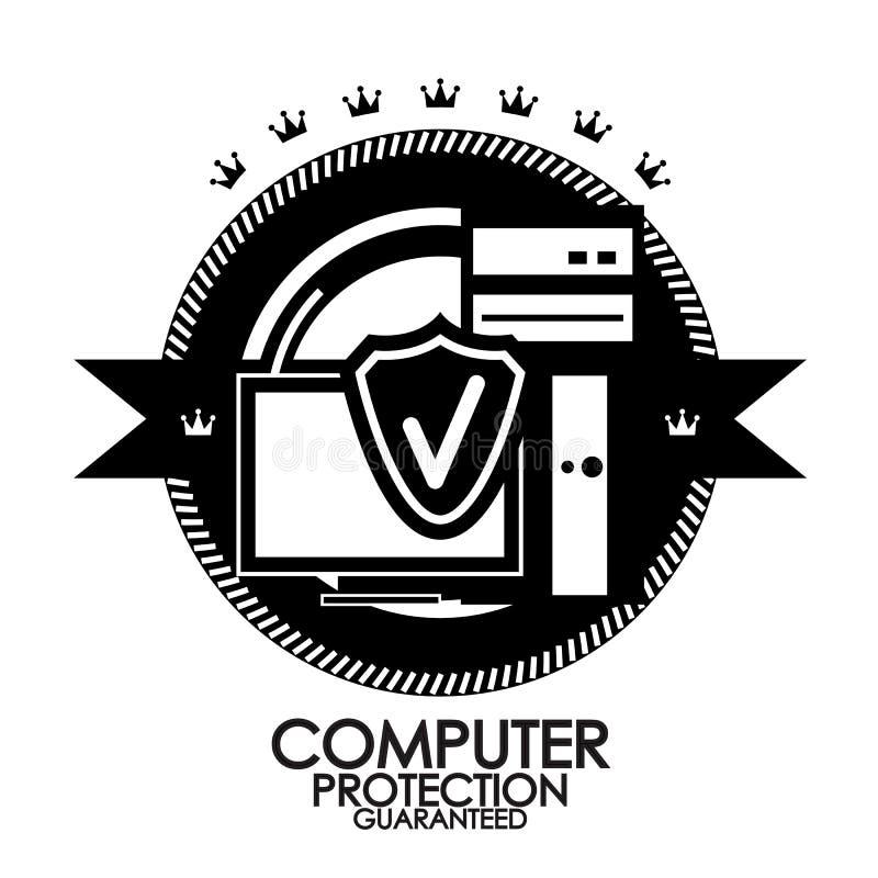 Retro rocznik etykietki ochrony komputerowy znaczek royalty ilustracja