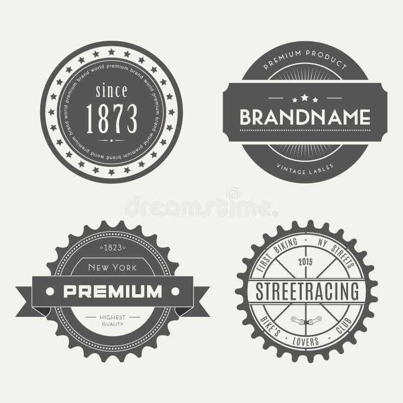 Retro rocznik insygnie, logotypy ustawiający lub wektor ilustracja wektor