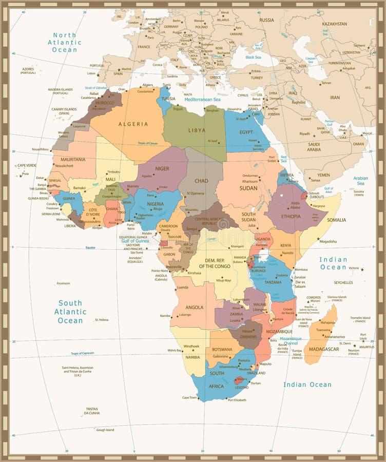 Retro rocznik mapa Afryka ilustracja wektor